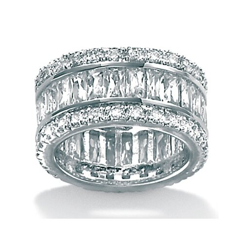 Palm Beach Jewelry Platinum/Silver Cubic Zirconia Eternity Ring