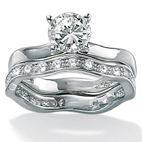 Palm Beach Jewelry Platinum/Silver Round Cubic Zirconia Wedding Ring 2 Piece Set