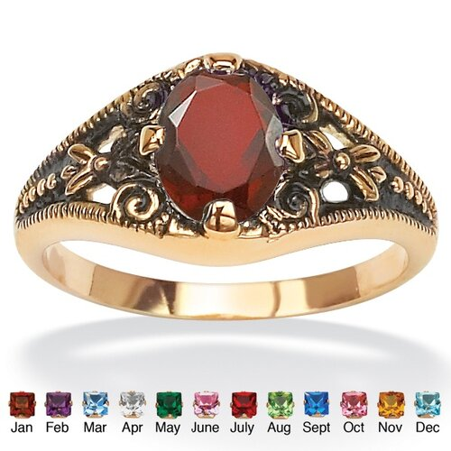 Sim Birthstone Antiqued Ring
