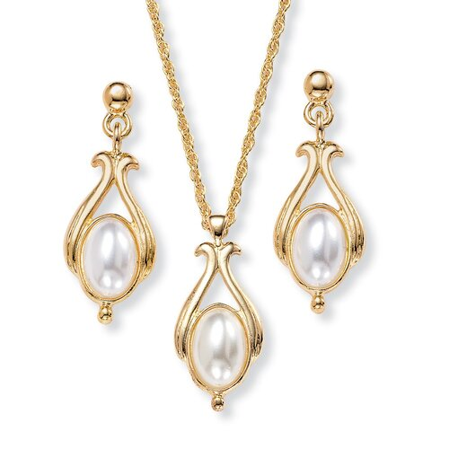 Palm Beach Jewelry Gold Plated Simulated Oval Cultured Pearl Pendant and Earring Set