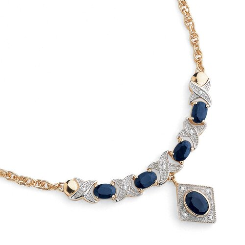 Palm Beach Jewelry Sterling Silver Sapphire/Diamond Accent Necklace