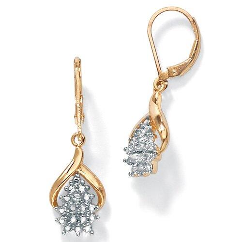 18k Gold/Silver Diamond Accent Pierced Earrings