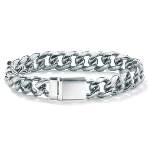 Palm Beach Jewelry Stainless/Silvertone Curb-Link Bracelet