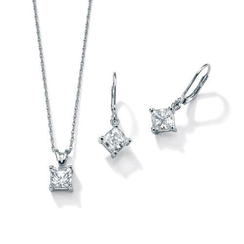 Platinum/Silver Cubic Zirconia Fashion Set