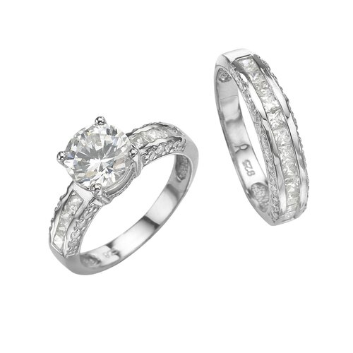 Palm Beach Jewelry Platinum/Silver 2 Piece Cubic Zirconia Ring Set