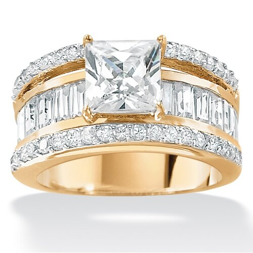 18k Gold/Silver Cubic Zirconia Ring