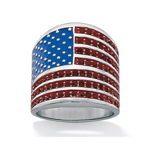 Palm Beach Jewelry Silvertone American Flag Crystal Ring