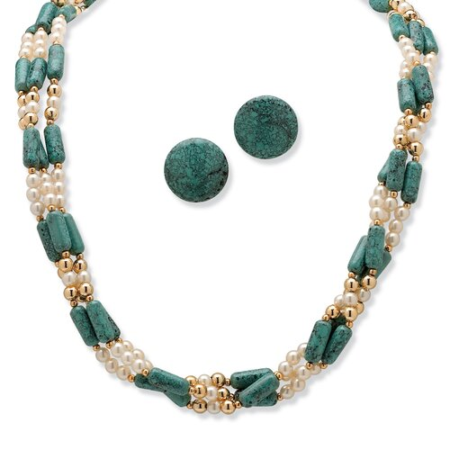 Palm Beach Jewelry Goldtone Simulated Turquoise Necklace and Clip-On Earrings Set
