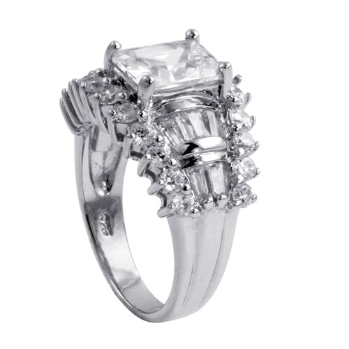 Palm Beach Jewelry Platinum/Silver Cubic Zirconia White WoMen's Ring