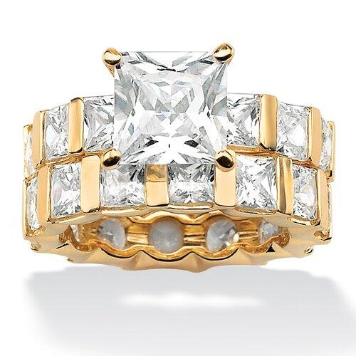 18k Gold/Silver Princess-Cut Cubic Zirconia Wedding Ring Set