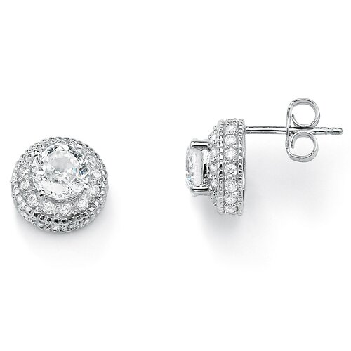 Platinum/Silver Diamond Ultra Cubic Zirconia Earrings