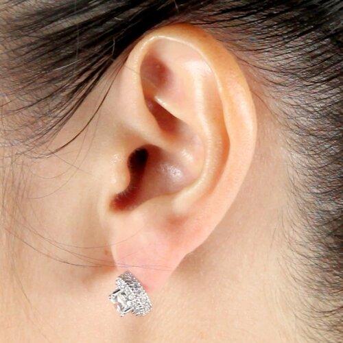 Palm Beach Jewelry Platinum/Silver Diamond Ultra Cubic Zirconia Earrings