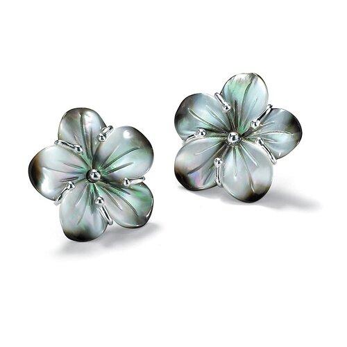 Silvertone Black Mother-of-Pearl Earrings