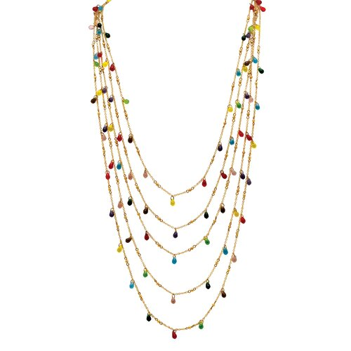 Goldtone Multi-Colored Faceted Bead Necklace