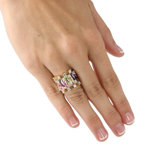 Palm Beach Jewelry Gold Plated Multi-Colored Cubic Zirconia Ring