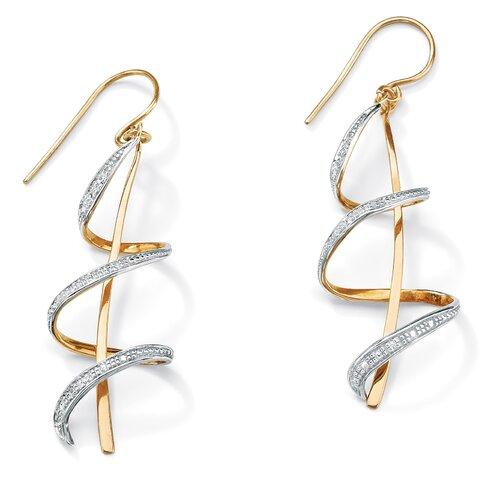 18k Gold/Silver Diamond Accent Ribbon Drop Pierced Earrings