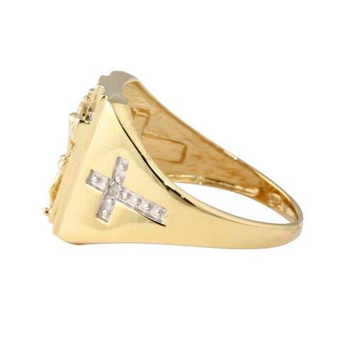 Palm Beach Jewelry 18k Gold/Silver Men's Diamond Crucifix/Cross Ring