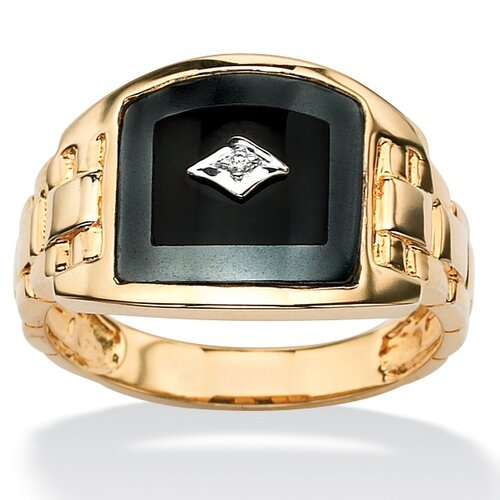 18k Gold/Silver Men's Reconstituted Onyx Ring
