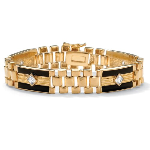 Palm Beach Jewelry Gold Plated Men's Onyx/Cubic Zirconia Bracelet