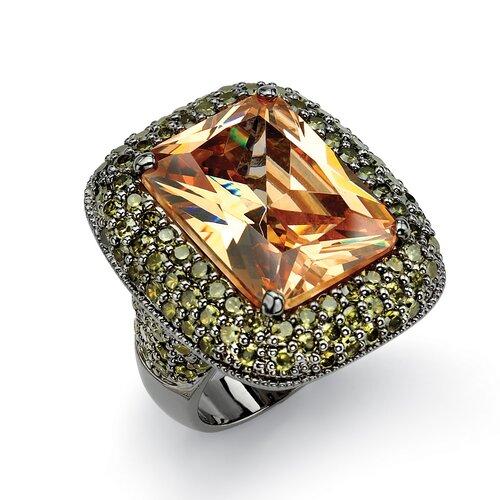 Black Ruthenium Champagne Cubic Zirconia Ring