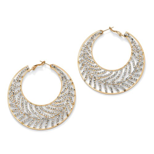 Goldtone Crystal Leaf Hoop Pierced Earrings