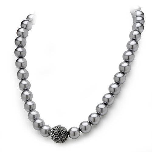 Black Ruthenium Grey Simulated Cultured Pearl and Crystal Necklace