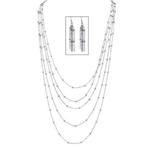 Palm Beach Jewelry Silvertone Multi-Chain Beaded Station Necklace and Pierced Earring Set