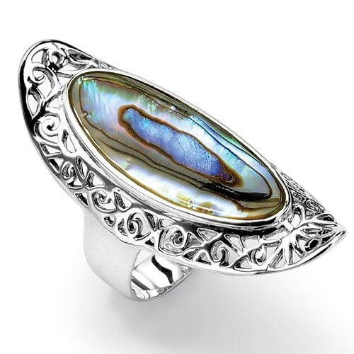 Palm Beach Jewelry Sterling Silver Oval Shaped Abalone Ring