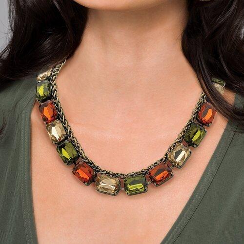 Goldtone Olive/Champagne/Amber Necklace