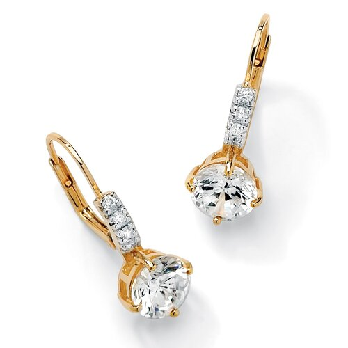 18k Gold/Silver Round Cubic Zirconia Earrings