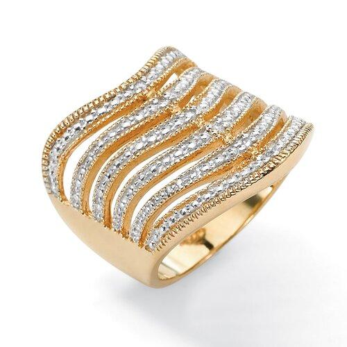 Palm Beach Jewelry 18k Gold/Silver Six-Row Diamond Accent Ring