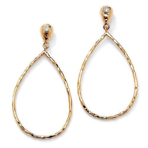 Gold Plated Cubic Zirconia Hoop Drop Pierced Earrings