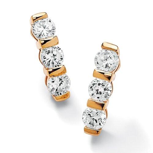 Sterling Silver Channel-Set Cubic Zirconia Pierced Earrings