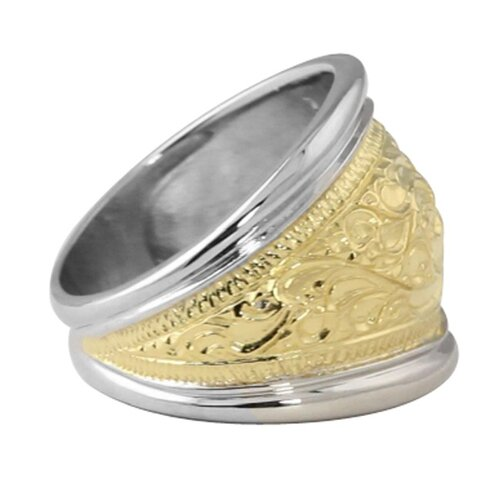 Palm Beach Jewelry Sterling Silver/Gold Milgrain Scroll Cigar Band Ring