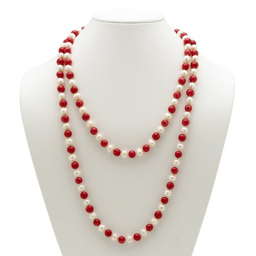 Palm Beach Jewelry Red and White Cultured Pearl Necklace