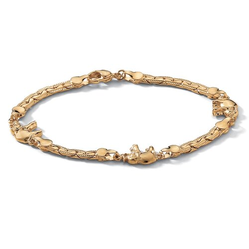 "Palm Beach Jewelry 1"" Gold Plated Elephant Link Ankle Bracelet"