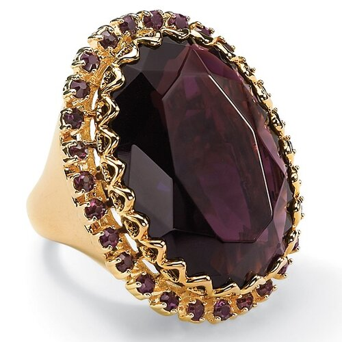 Gold Plated Amethyst Colored Crystal Ring