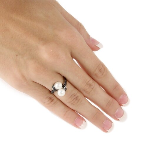 Palm Beach Jewelry Platinum/Silver Freshwater Cultured Pearl/Sapphire Ring