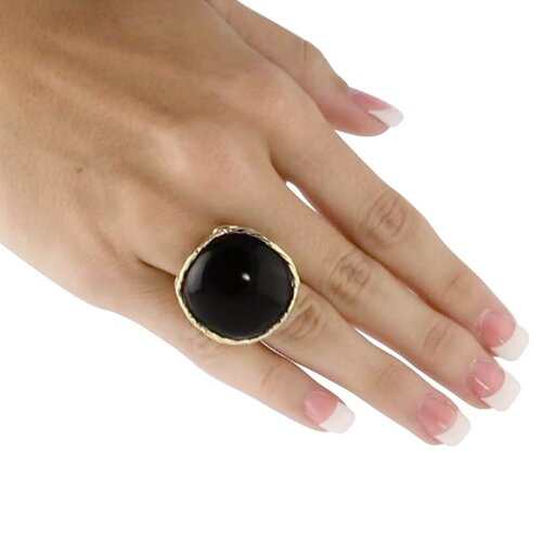 Palm Beach Jewelry Gold Plated Onyx Cabochon Ring