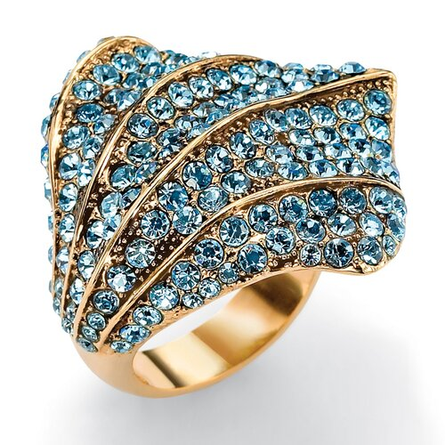 Palm Beach Jewelry Goldtone Aquamarine Colored Crystal Ring