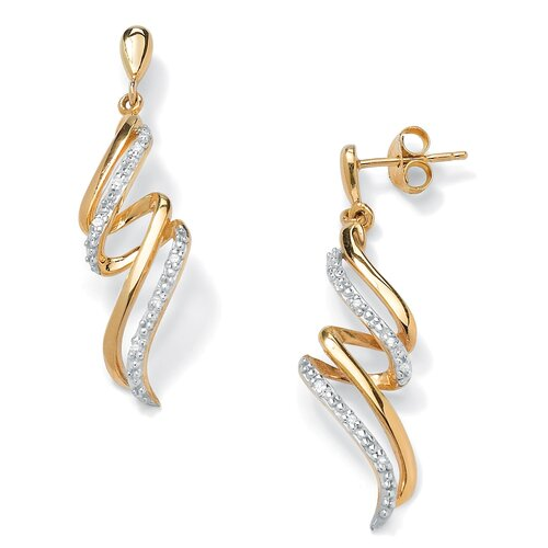 18k Gold/Silver Diamond Accent Ribbon Earrings