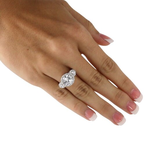 Palm Beach Jewelry Platinum/Silver Round Cubic Zirconia Anniversary Ring
