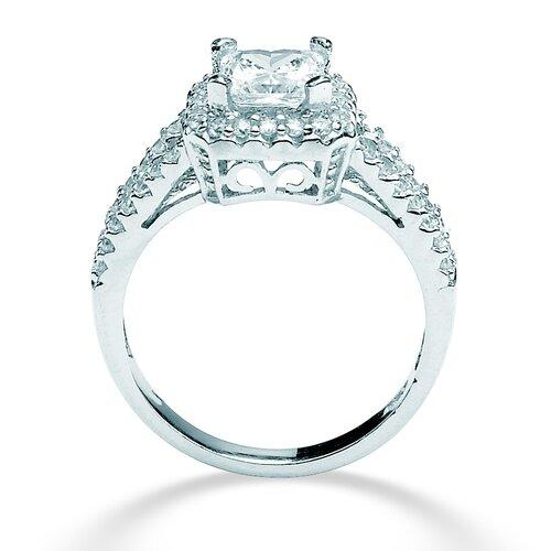 Palm Beach Jewelry Platinum/Silver Round Princess-Cut Cubic Zirconia Ring