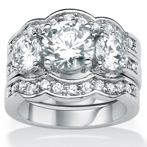 Palm Beach Jewelry Silvertone Round Cubic Zirconia Wedding Ring Set