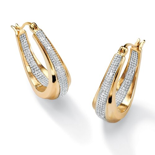 Palm Beach Jewelry 14k Gold Plated Oval Diamond Accent Pierced Earrings