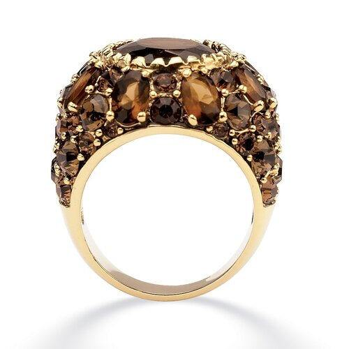 Palm Beach Jewelry Gold Plated Smoky Quartz and Crystal Ring