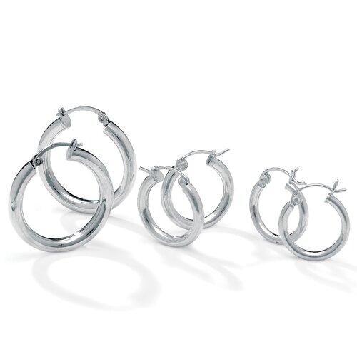 Palm Beach Jewelry 3 Pairs of Silvertone Hoop Earrings