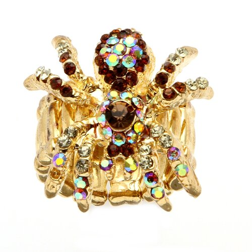 Goldtone Multi Crystal Spider Stretch Ring