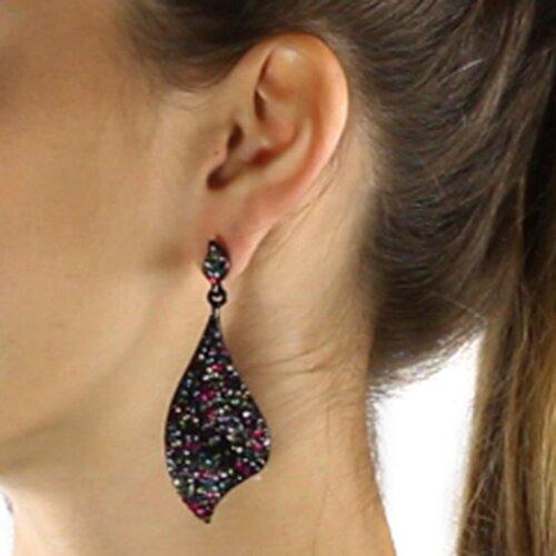 Palm Beach Jewelry Black Ruthenium Multi-Colored Crystal Drop Earrings