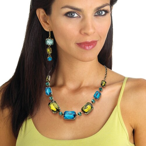 Palm Beach Jewelry Goldtone Blue and Green Lucite Necklace